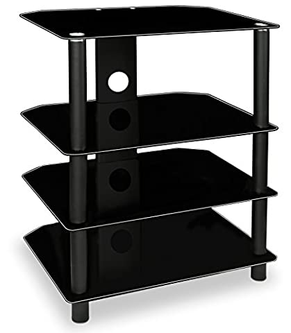 Mount-It! TV Media Stand, Glass Shelves, Audio Video Components, Storage for Xbox, Playstation, Laptop, Speakers, Cable Boxes, 88 Lb Load Capacity, Black Silk (Enclosed Av Rack)