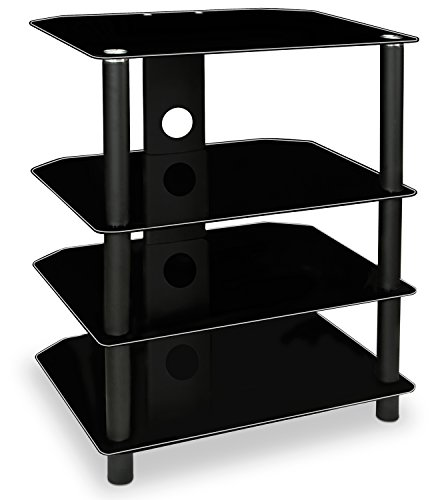 Electronics Tower Wall Entertainment Center (Mount-It! AV Component Media Stand, Glass Shelves, Audio Video Components, Storage for Xbox, Playstation, Speakers, Cable Boxes, 88 Lb Load Capacity, Black Silk (Mi-867))