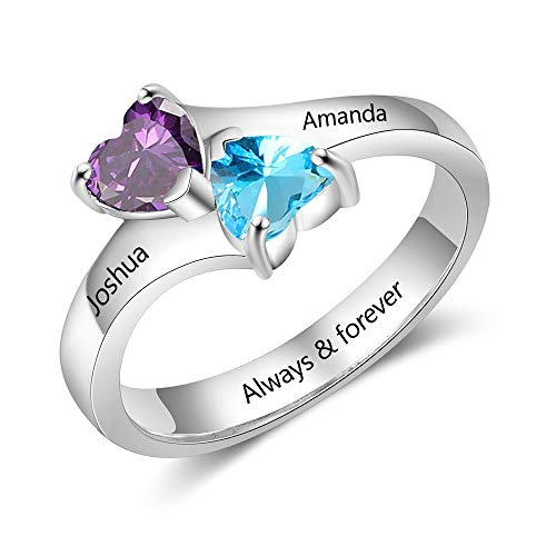 Tian Zhi Jiao Personalized Simulated Birthstone Ring Custom 2 Heart Rings Engraved 2 Names Best Friends Rings for Women (9)