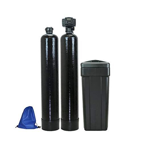 ABCwaters Fleck 5600sxt 48,000 Black SPACE SAVER Water Softener [Upgraded 10% Resin] with Upflow Carbon Filtration,