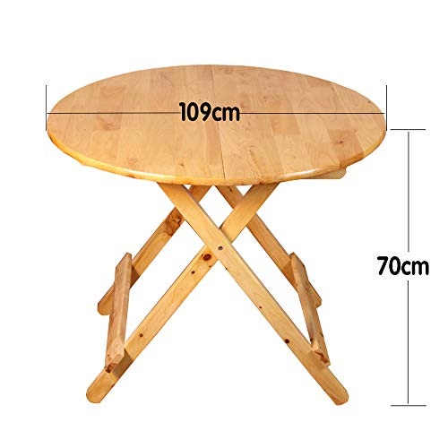 Fällbart bord GCDW Cedar massivt trä, runt matbord, bärbart hopfällbart skrivbord, 79 cm x 65 cm