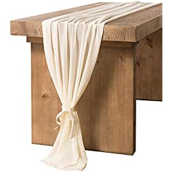 Ling's moment 27 x 120 inches Ivory Chiffon Table Runner/Overylay for Romantic Boho Rustic Wedding Party Bridal Shower Decorations