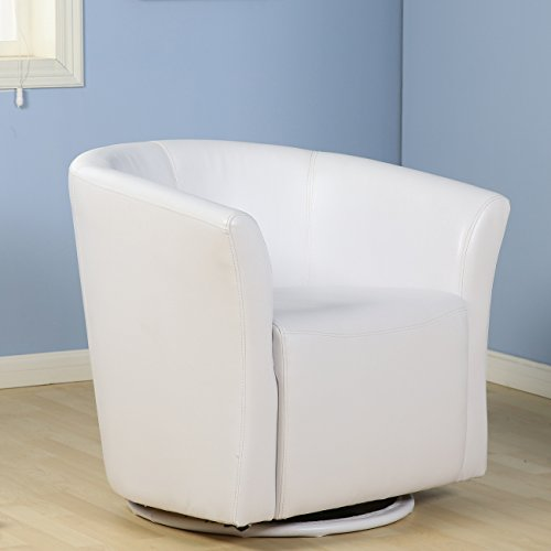 Belleze Faux Leather Club Tub Barrel Modern Accent Chair with Arm Rest and 360 Degree Swivel Base, White (Leather Swivel Club Chair)