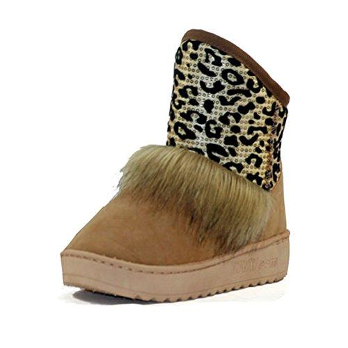 La Mode Gaorui Femmes Beige Les Plat Fourrure Léopard Botte Cheville Sequin Chaussures Neige D'hiver De Chaud Patchwork EtqwRARS