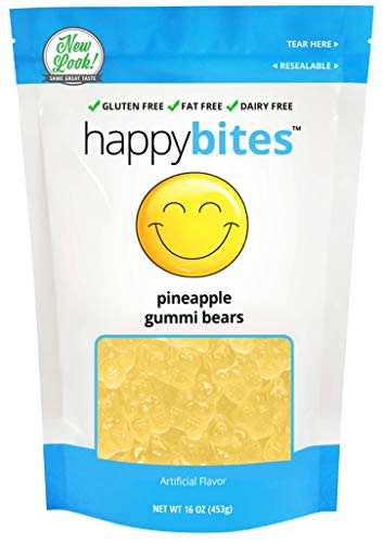 Happy Bites Pineapple Gummi Bears - Gluten Free, Fat Free, Dairy Free - Resealable Pouch (1 Pound)