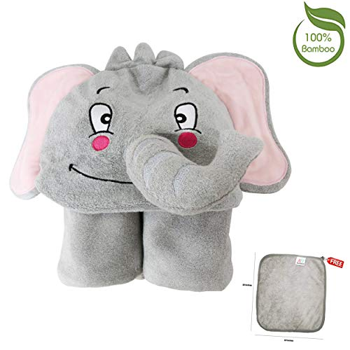Premium Hooded Baby Towel | 100% Organic Bamboo | Free Washcloth | Extra Thick 680 GSM | 40x28 for Newborns Infants & Toddlers | Great for Bath Pool & Beach | 3D Elephant | Gray