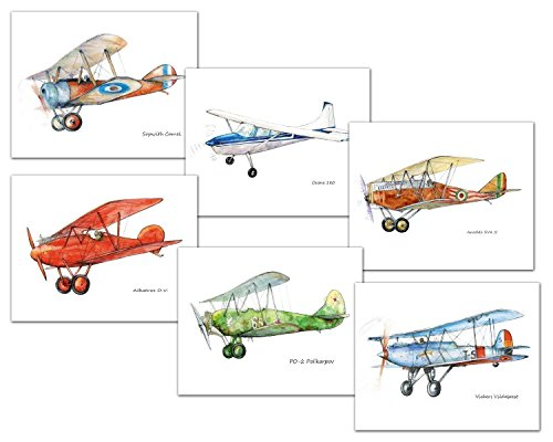 Vintage airplane decor Boys nursery wall art Set six prints