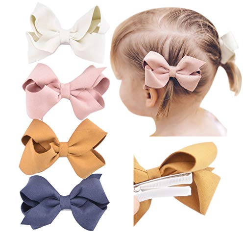 California Tot Premium Faux Suede Bow Hair Clips for Toddler, Girls, Mixed Set of 4 (3D Suede Bow Clip Set of - Suede Bow Faux