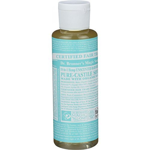 Dr. Bronners - Pure-Castile Liquid Soap (Baby Unscented, 4 Ounce) - Made with Organic Oils, 18-in-1 Uses: Face, Hair, Laundry, Dishes, For Sensitive Skin, Babies, No Added Fragrance, Vegan, Non-GMO