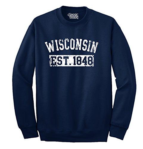 Classic Teaze Wisconsin State Printed Crewneck Sweatshirt -