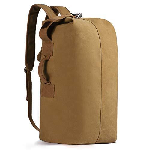 (HaloVa Men's Backpack, Travel Shoulders Tote Bag, Large Capacity Duffel Hiking Rucksack, Personality Chain Carabiner Opening Design, Scratchproof and Multifunction)
