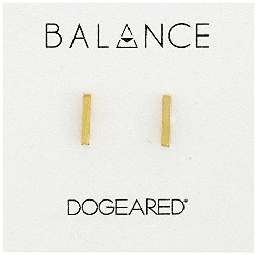 Dogeared Women's Balance Flat Bar Stud Earrings Gold One -
