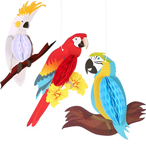 (Jetec 6 Pieces Parrot Honeycomb Party Hanging Decorations Paper Bird Ornament for Summer Luau Hawaiian Tropical Beach Wedding Birthday)
