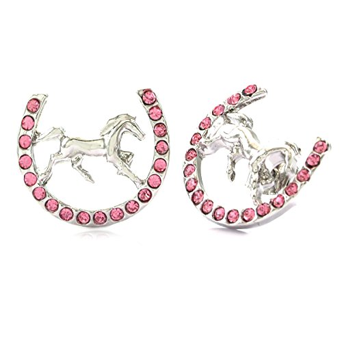 Lucky Charm Horseshoe Horse Mustang Pony Stud Post Earrings Rhinestones Fashion Jewelry (Pink) (Lucky Rhinestone Earrings)