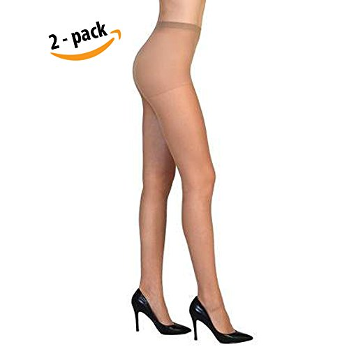(Vivien Women High Support Pantyhose Stocking - 2 PACKS of Silky Soft Light weight Comfortable Stretchy Waistband Sheer Nylon and Spandex Hosiery Panty hose with Reinforced Toe - ONESIZE NUDE)