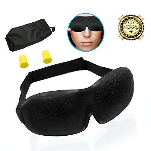Serenelife Sleep Mask Ear Plugs - 3D Contoured Sleeping Masks Adjustable Strap Lace, Blindfold Face Cover Earplug Travelling Pouch, Fit Men, Women Kids - SLEYEMSK10