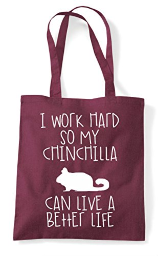 Themed Shopper I Animal My A Better Hard Chinchilla Life Can Burgundy Tote Bag Cute Have So Funny Work wwAqpO