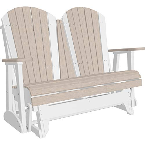 - Kunkle Holdings LLC Outdoor 4' Adirondack Glider Bench in Woodgrain Colors - Recycled Plastic Birch/White