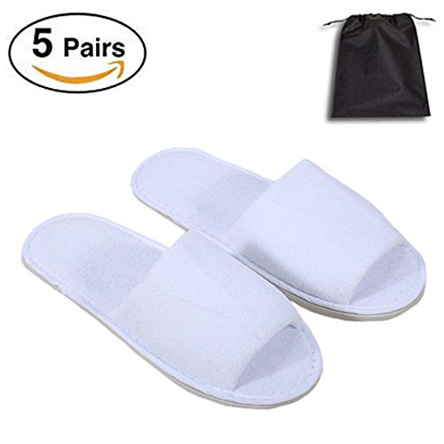 5 Pair of Open Toe Breathable Slippers, Spa Slippers for Guests, Hotel, Travel, Unisex Universal Size Washable and Non-Disposable by Tee-Mo