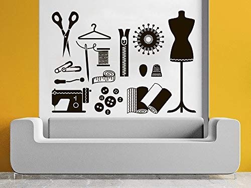 Wall Decal Atelier for Women Vinyl Sticker Decals Tailor Seamstress Fashion Salon Dress Form Mannequin Home Decor Art Design Interior C640