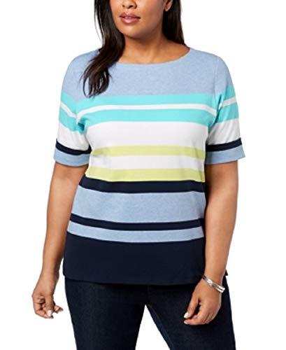 Karen Scott Plus Size Cotton Striped Cuffed-Sleeve Top (Aqua Oasis, 1X) from Karen Scott