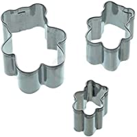 KitchenCraft Sweetly Does It Teddy Bear Fondant Cutters, Stainless Steel, 3pcs, Silver