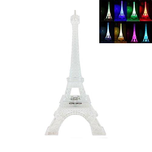 (DreamsEden 3 LEDs Light Up Eiffel Tower Lamp - Color Changing Paris Decor for Bedroom Desk Cake Topper Centerpiece, 9.8 Inch Height)