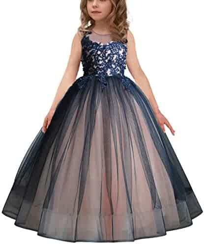 234946efeab Luxury Burgundy Ball Gown Pageant Dresses for Girls Floor Length Flower  Puffy Tulle Prom Wedding Birthday