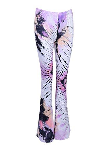 Azbro Mujer Moda Pantalones Quemado Estampado Floral Delgado Marino
