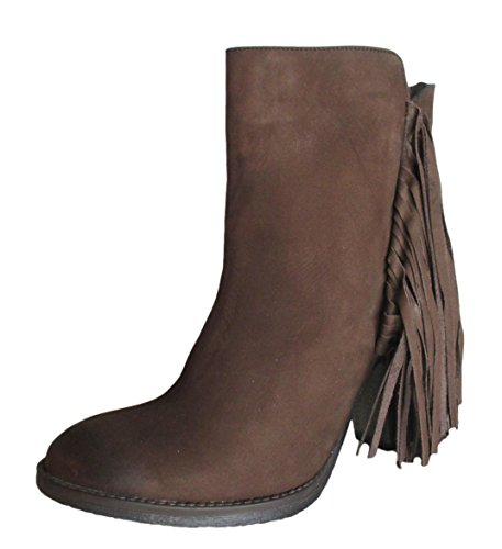 Boho-Chic Vacation & Fall Looks - Standard & Plus Size Styless - Steve Madden Woodstck Leather Fringe Ankle Boots, Brown Nubuck (9.5 B(M)