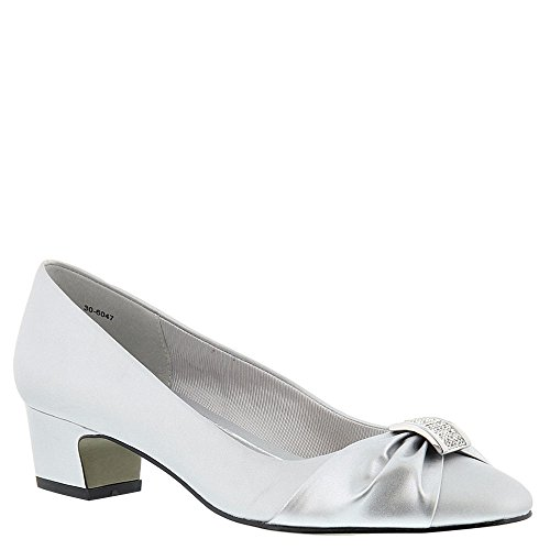 Easy Street Women's Eloise Dress Pump, Silver Satin/Silver Easy Flex Dance Sole, 10 W (Ladies Wide Dress Shoes)