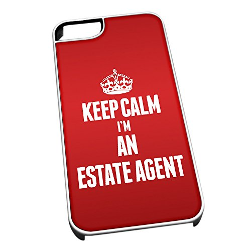 Bianco cover per iPhone 5/5S 2580 rosso Keep Calm I m An estate Agent