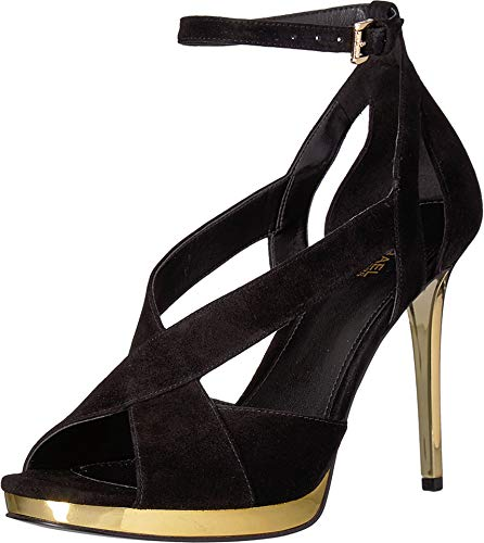 - Michael Michael Kors Women's Becky Ankle Strap Black Kid Suede/Galvanized Heel 8 M US