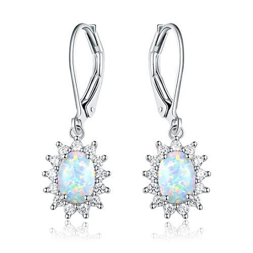 OPALBEST White Gold Plated Fire Opal Leverback Earrings Dangle Halo CZ for Women Hypoallergenic