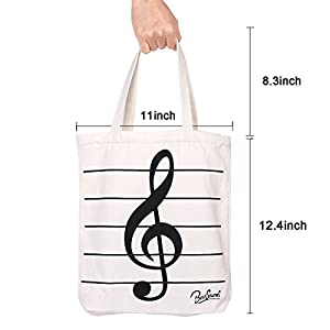 Music Symbols Print Canvas Tote Handbag Shoulder Shopping Bags Gift ( White-MG-346)