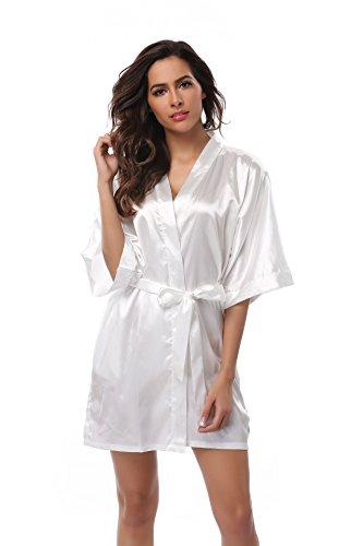 (Women's Bride Kimono Robe Solid Color Short Silk Bathrobe with Satin Belt for Wedding Party White 3XL )