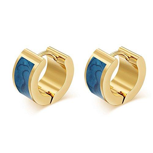 Enamel Huggie Earrings - SumBonum Jewelry Womens 18k Golden Plated Stainless Steel 2-Tone Enamel Huggie Hoop Earrings, Blue Golden
