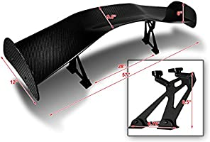 "57/"" Type-1 3D Real Carbon Fiber Adjustable Rear Trunk GT Spoiler Wing Universal"