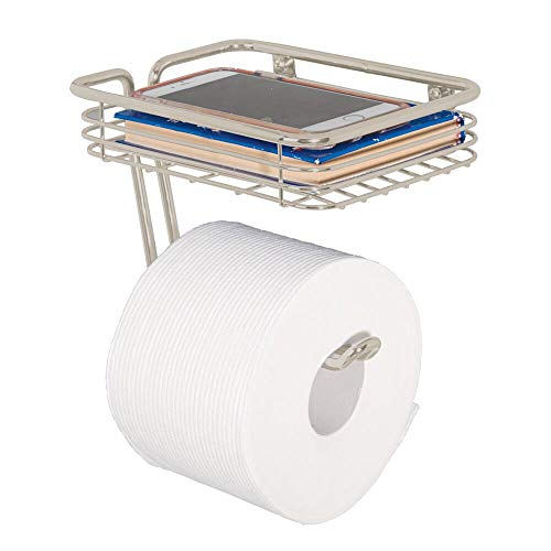 mDesign Toilet Tissue Paper Holder and Multi-Purpose Shelf - Wall Mount Storage Organizer for...