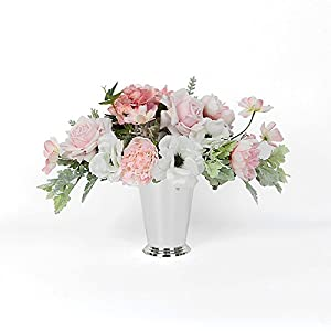 G Home Collection Pink Rose Hydrangea Peony Cosmos and White Anemone Flower Arrangement Tall 48