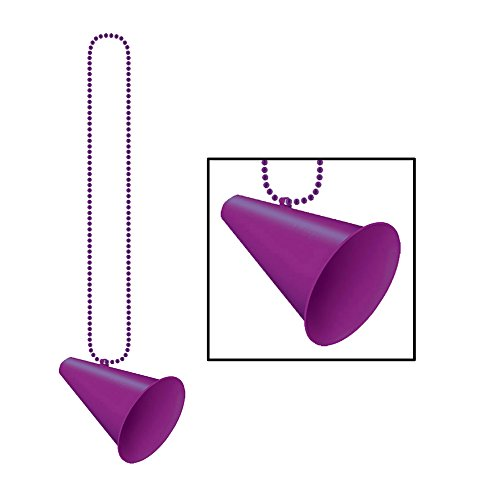 Beistle 50243-PL - Beads With Megaphone Medallion - 39 Inches - Purple- Pack of 12