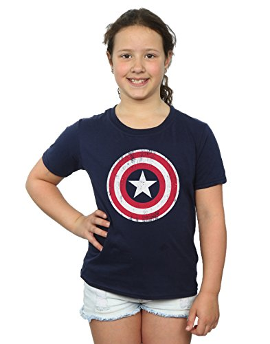 Marvel Girls Avengers Captain America Cracked Shield T-Shirt 12-13 Years Navy Blue -