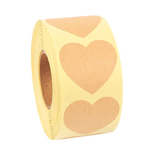 (Heart Stickers Roll - 500-Piece Heart Shape Labels, Ideal for Scrapbooking, Crafting, Party Favors, Kraft Paper Adhesive Labels, Natural Brown, 1.5 Inches in Diameter)