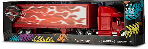 Peterbilt Tractor Trailer Diecast Toy - Wheel Master Peterbilt Tractor Trailer 387 Play Toy Truck for Kids 1/32 Die Cast Scale