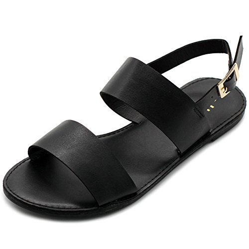 (Ollio Women's Shoe Two Strap Sling Back Flat Sandals MG31 (11 B(M) US, Black))