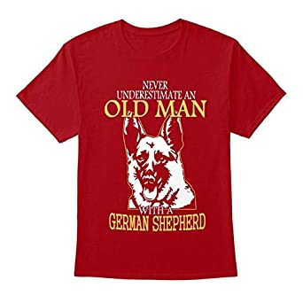156a5376 Image Unavailable. Image not available for. Color: German Shepherd Old Man  Front XL - Deep red Tshirt ...
