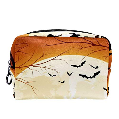 MAPOLO Halloween Pumpkin Full Moon Makeup Bag Toiletry Bag for Women Skincare Cosmetic Handy Pouch Zipper Handbag]()