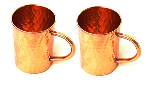 BLUE NIGHT Hammered Copper Moscow Mule Mug Handmade of 100% Pure Copper, Drinkware Accessories Hammered Copper Moscow Mule Mug Capacity-16 Oz. (2)