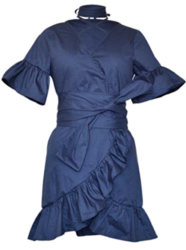 Hem Neck Ruffle Line Navy Jaycargogo V A Mini Dress Short Womens Wrap Blue Sleeve w4XEY