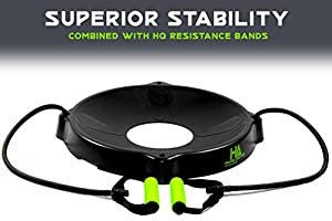 Trainer's CHOICE Yoga Fitness Exercise Ball Base - 2 HQ Comfort Grip Resistance Bands - FITS 55-85cm - FREE 100+ DIGITAL DOWNLOAD EXERCISE STARTER GUIDE